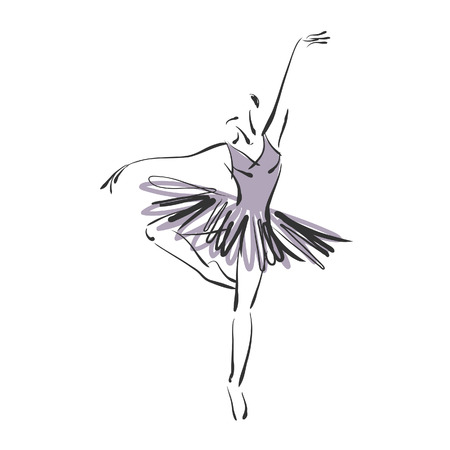 art sketched beautiful young ballerina with tutu in ballet dance on studio on white background. Vector version is also in my gallery.