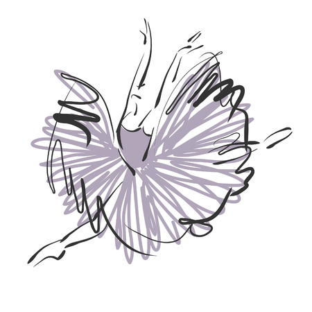 art sketched beautiful young ballerina with long tutu in fly dance on white background. Vector version is also in my gallery.