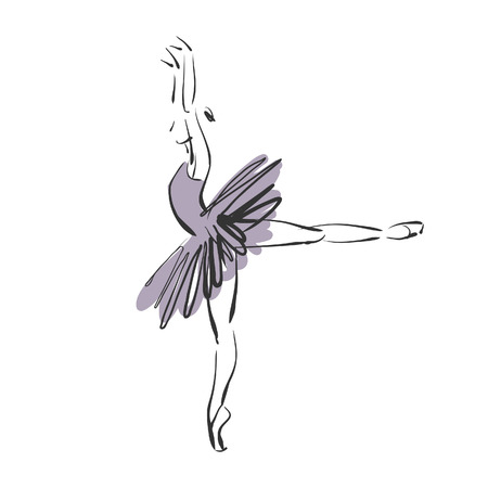 art sketched beautiful young ballerina with tutu in ballet pose on white background. Vector version is also in my gallery. photo