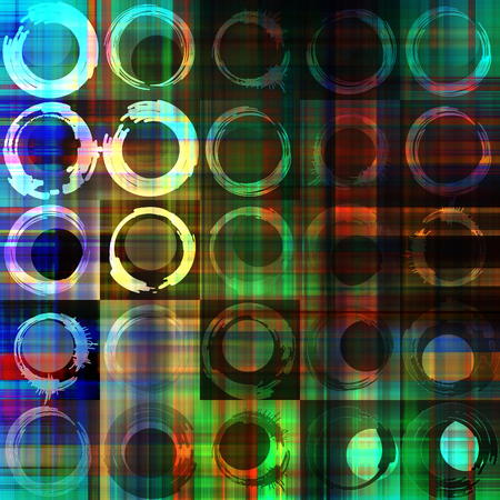 art abstract geometric textured colorful background with circles in green, white, blue, black and red colors  photo