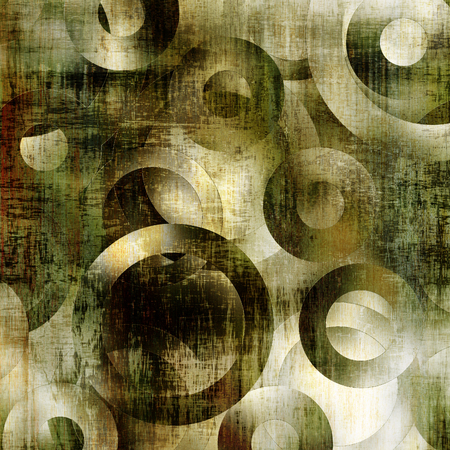 art abstract geometric textured colorful background with circles in green, grey, white and black colors  photo