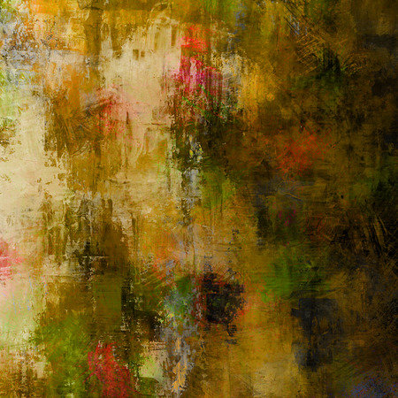 art abstract acrylic and pencil background in beige, yellow, brown, green and pink colors photo