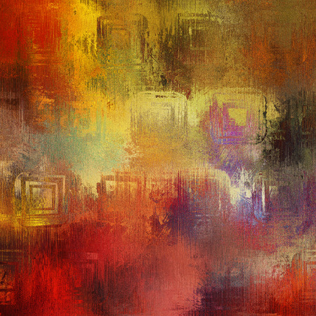 art abstract acrylic and pencil background in red, yellow, orange, violet and brown colors photo