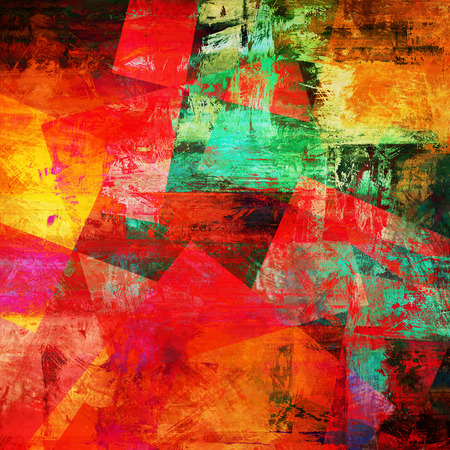 art abstract acrylic and pencil background in vibrant red, yellow, pink and green colors photo