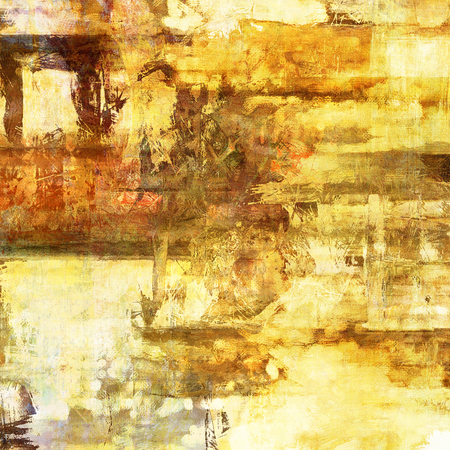 art abstract acrylic and pencil background in yellow, white, brown and orange colors photo