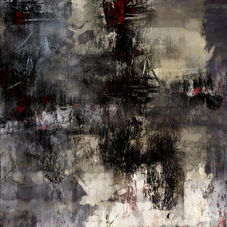 art abstract acrylic and pencil background in black, white, grey, beige and red colors photo