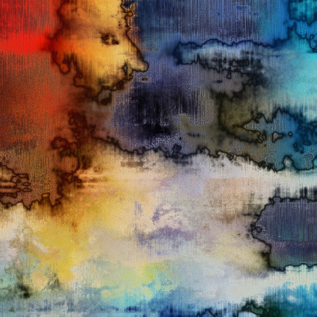 art abstract acrylic and pencil background in blue, grey, red, white, orange and black colors photo