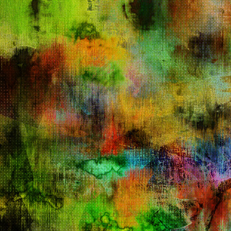 art abstract watercolor background in green, violet, blue, red, orange and black colors photo