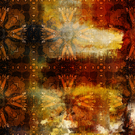 art abstract colorful watercolor background with damask vintage tiled pattern in gold, orange, red and brown colors photo