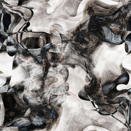 art abstract monochrome chaotic waves seamless pattern; background in white, grey and black  colors photo