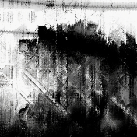 dislocation: art abstract grunge dust textured monochrome background in black, grey and white colors