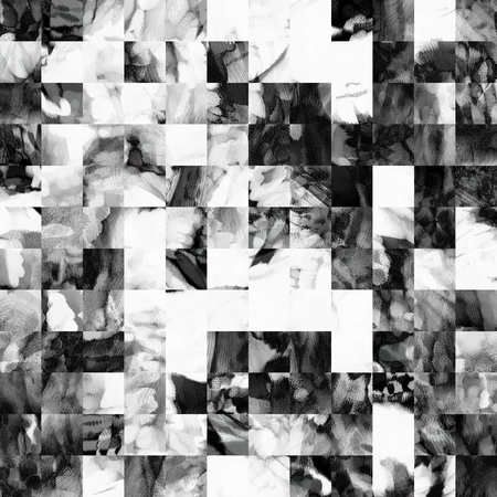 square abstract: art abstract monochrome geometric pattern background in white, grey and black colors Stock Photo