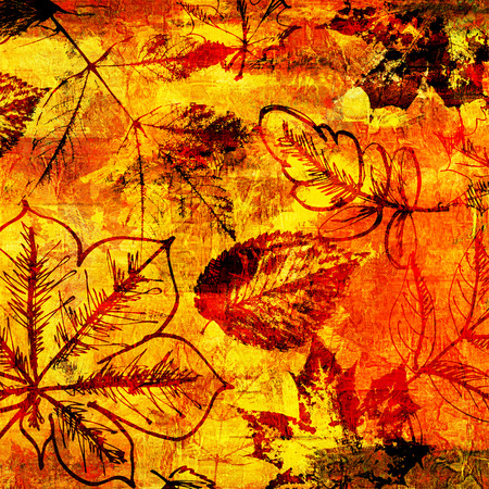 art autumn leaves background in red, yellow and brown colors photo