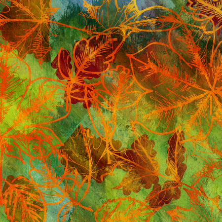 art autumn leaves background in green, orange and brown colors photo