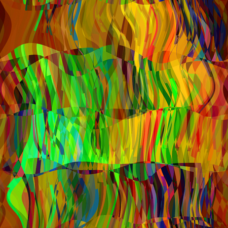 art abstract rainbow chaotic waves seamless pattern in Klimt style; background in gold, green, brown, blue, orange and red  colors photo