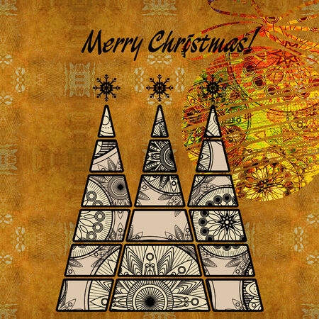 art three christmas tree and ball in black and white colors with abstract floral geometric pattern on vintage gold and orange pattern background photo