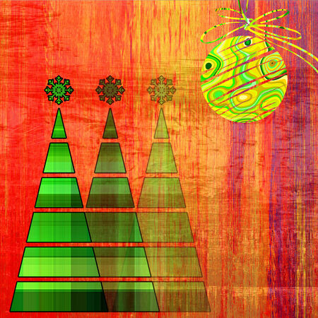 art three christmas tree and ball in gold and green colors on vintage red, gold and orange pattern background photo