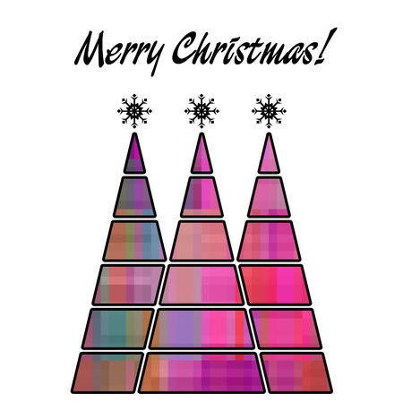 art christmas three trees in pink and violet colors with abstract pattern and isolated on white background photo