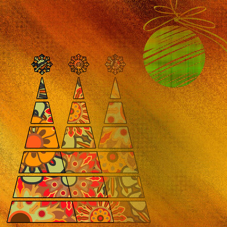 art three christmas tree and ball in gold and red colors with abstract floral vintage pattern  on gold and orange background photo