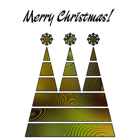 art christmas three trees in green and gold colors with abstract pattern and isolated on white background photo