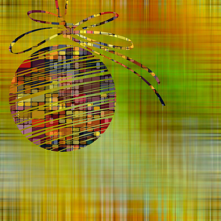 art christmas ball in gold and rainbow colors with abstract pattern on  gold and green background photo
