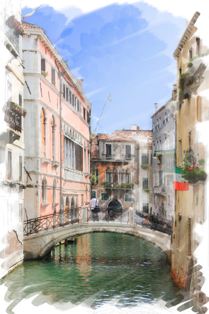 art watercolor background isolated on white basis with street,  channel and bridge in Venice, Italy photo