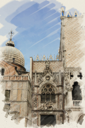 marc: art watercolor background on paper texture with facade of St Marks basilica in Venice, Italy