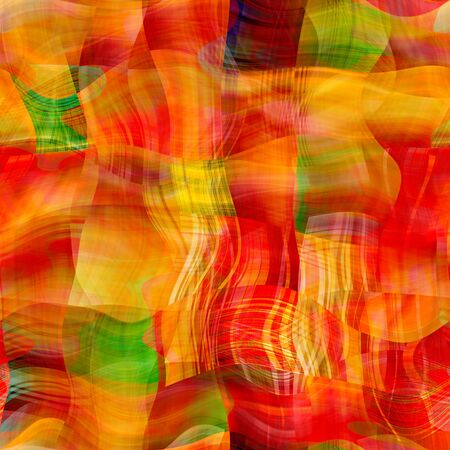 art abstract colorful chaotic waves seamless pattern, background in red, orange, green and gold colors photo