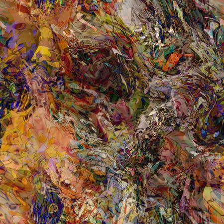 アート抽象的なカラフルなカオス波シームレス パターン、茶色、緑、オレンジとベージュ色の背景 写真素材