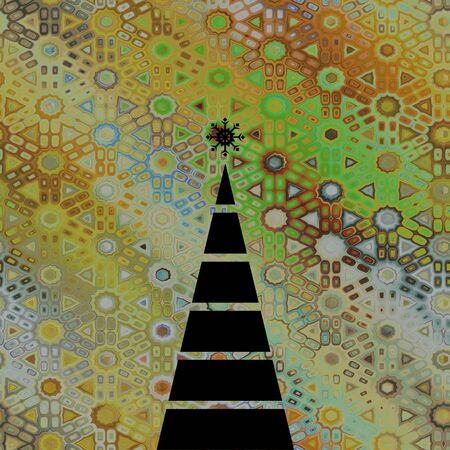 art christmas graphic geometric black tree on beige, gold and green vintage pattern background photo