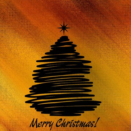 art christmas black graphic tree on golden background photo