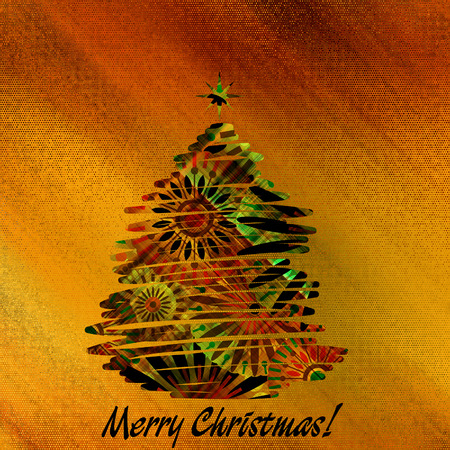 art christmas colorful graphic abstract pattern tree on gold background photo