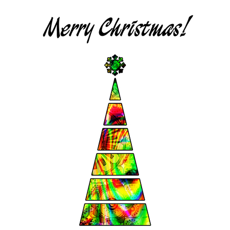 art christmas tree in green, gold and rainbow colors with abstract pattern and isolated on white background photo