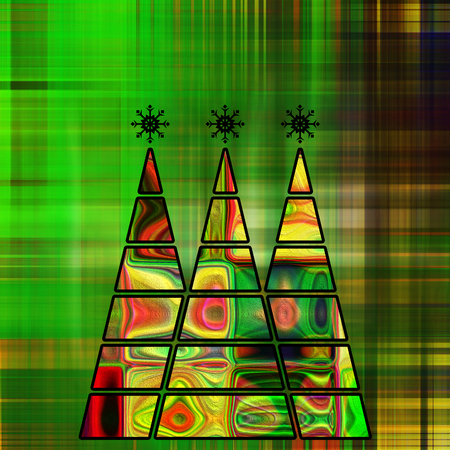art three christmas tree in green, gold and rainbow colors with abstract pattern on green and gold background photo