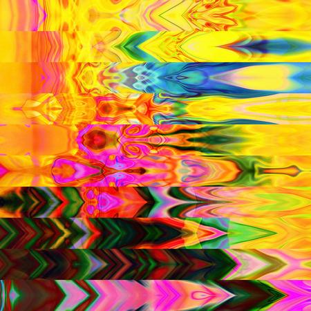 arte abstracto: arte abstracto geom�trico rayas horizontales patr�n de fondo en colores oro y arco iris Foto de archivo