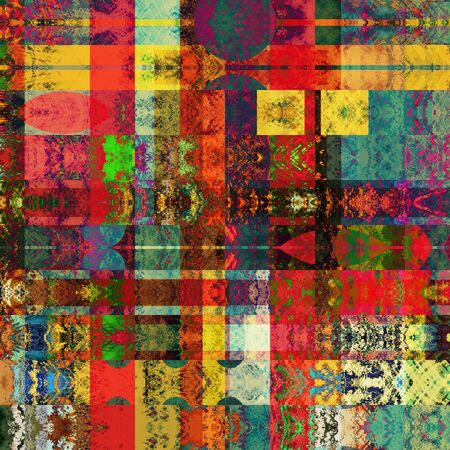 art abstract geometric horizontal stripes pattern background in gold and rainbow colors