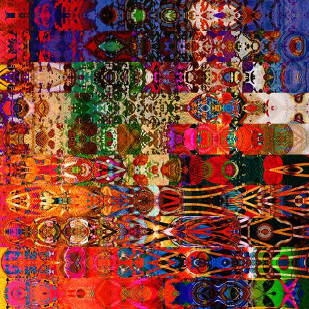 アート抽象的な幾何学的な水平方向のストライプ柄ゴールドと虹色の背景