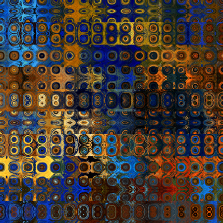 art abstract geometric horizontal stripes pattern background in blue, orange and brown colors Stock Photo