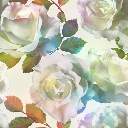 art vintage watercolor floral seamless pattern with white roses isolated on white background with Soft Bokeh