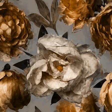 art vintage bloemen naadloze patroon met witte en gouden pioenrozen op een grijze achtergrond Stockfoto