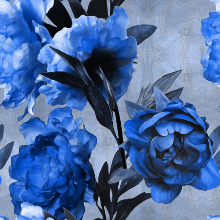 floral print: art vintage monochrome watercolor floral seamless pattern with blue peonies on blue background