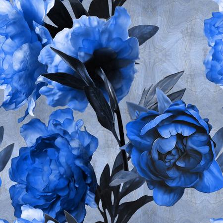 art vintage monochroom aquarel bloemen naadloze patroon met blauwe pioenrozen op blauwe achtergrond Stockfoto