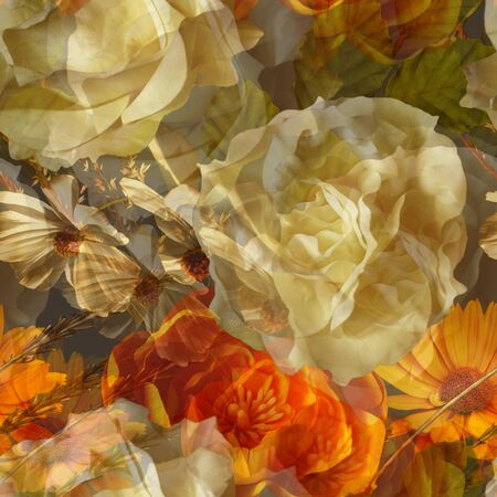 double exposure: art vintage floral seamless pattern with gold orange and white roses, asters and peonies on dark green brown background. Double Exposure effect Stock Photo