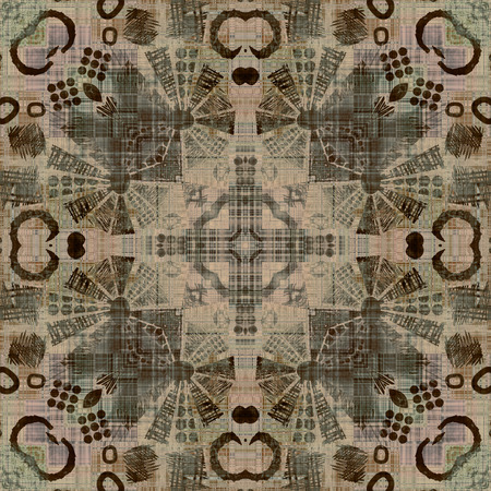 art deco ornamental vintage pattern, S.8, monochrome background in beige, brown, grey  and black colors photo