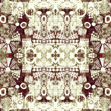art deco ornamental vintage pattern, S.3, monochrome background in white, beige and brown colors photo