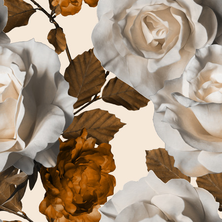 art vintage watercolor floral seamless pattern with white roses and gold brown peonies isolated on white background
