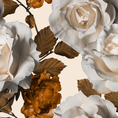art vintage waterverf bloemen naadloze patroon met witte rozen en gouden bruin pioenrozen op een witte achtergrond
