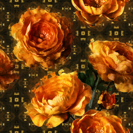 art vintage floral seamless pattern  with golden peonies on gold and black ornamental background Stock Photo