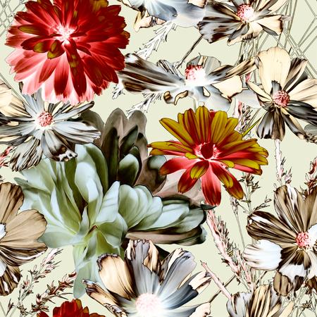 Kunst, Jahrgang Unschärfe bunte Grafik und Aquarell floral nahtlose Muster mit weißen Pfingstrosen und goldenen und roten Astern isoliert auf hellem Hintergrund