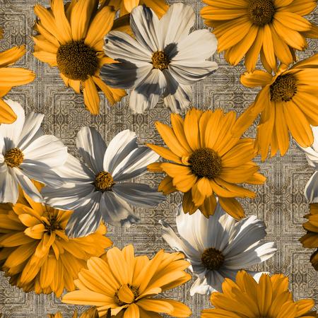 kunst vintage grafisch en waterverf bloemen naadloos patroon met gouden oranje en witte asters op grijze damastachtergrond